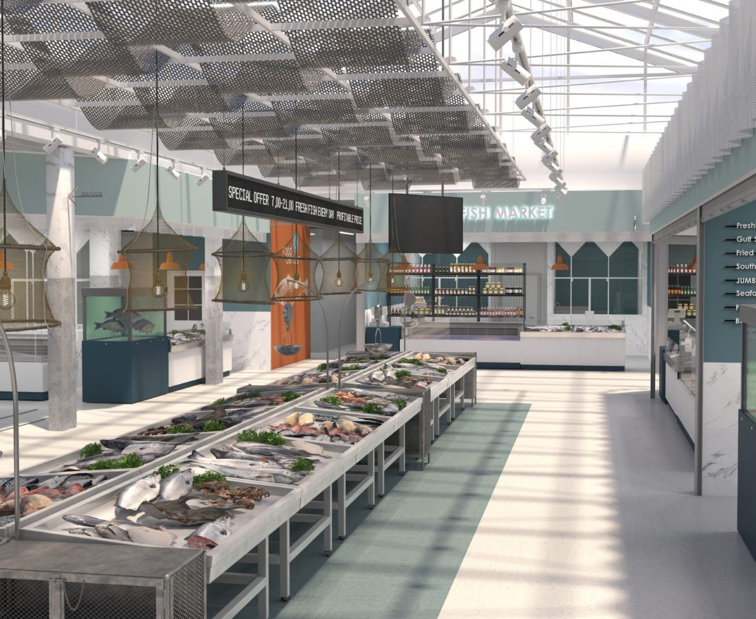 The interior of the shop fresh fish and seafood. 3D render. Design project of the fish market.