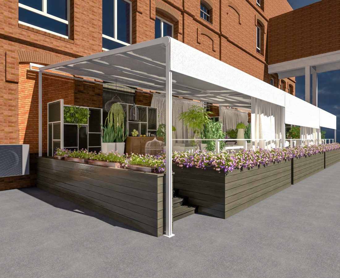 cafe  summer terrace 3D rendering