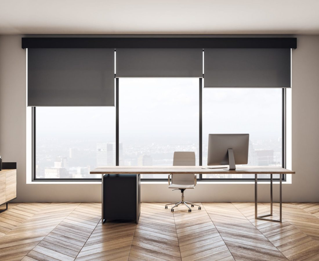 Modern wooden office interior with furniture and city view. 3D Rendering